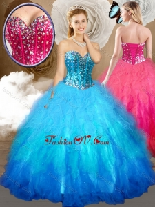 Simple Ball Gown Sweet 16 Dresses with Beading and Ruffles