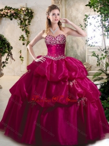 2016 Beautiful Ball Gown Sweet 16 Gowns with Beading and Pick Ups
