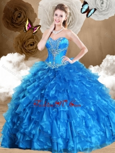 2016 Beautiful Ball Gown Sweetheart Quinceanera Dresses with Beading and Ruffles