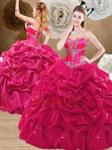 2016 Discount Brush Train Hot Pink Sweet 16 Dresses with Pick Ups