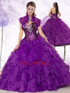 2016 New Style Sweetheart Ruffles and Sequins Quinceanera Dresses in Purple