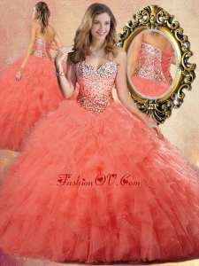 2016 Pretty Ball Gown Sweet 16 Dresses with Beading and Ruffles