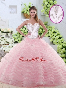 2016 Sweet Brush Train Quinceanera Gowns with Beading and Ruffled Layers