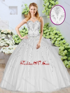 Discount Ball Gown White Quinceanera Dresses with Beading for 2016