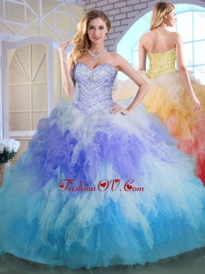 Elegant Sweetheart Multi Color Quinceanera Gowns with Beading and Ruffles