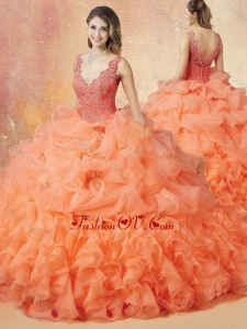 Latest V Neck Beading and Ruffles Sweet 16 Dresses with Brush Train