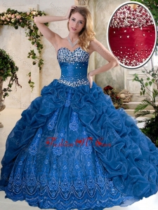 Luxurious Brush Train Quinceanera Dresses with Pick Ups and Embroidery