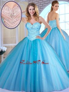 Most Popular Ball Gown Baby Blue Quinceanera Dresses with Beading