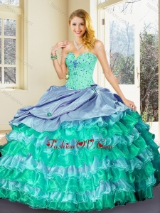 Perfect Ball Gown Multi Color Quinceanera Dresses with Ruffled Layers