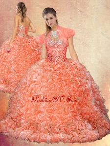 Perfect Brush Train Sweet 16 Dresses with Beading and Ruffles