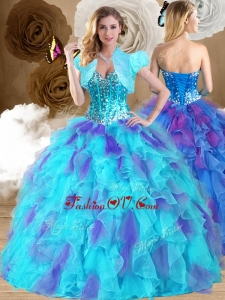 Sweet Ball Gown Sweetheart Ruffles Sweet 16 Dresses in Multi Color