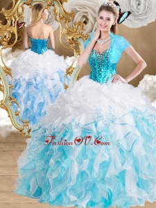 2016 Beautiful Ball Gown Sweetheart Quinceanera Gowns with Beading and Ruffles