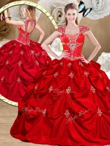 2016 Gorgeous Red Sweet 16 Gowns with Appliques and Pick Ups