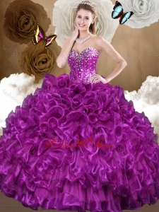 Beautiful 2016 Purple Sweet 16 Gowns with Beading and Ruffles