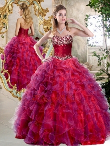 Elegant A Line Sweetheart Beading and Ruffles Sweet 16 Dresses