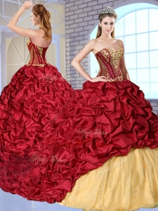 Most Popular Sweetheart Brush Train Pick Ups and Appliques Lovely Sweet 16 Dresses