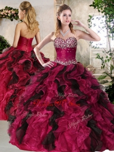Most Popular Sweetheart Multi Color Modern Sweet 16 Gowns with Beading and Ruffles