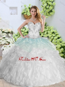 Simple Sweetheart White Modern Quinceanera Gowns with Appliques and Ruffles