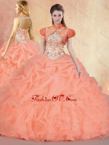 Customized Brush Train Modern Sweet 16 Gowns with Ruffles and Pick Ups