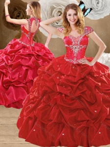 Lovely Beading and Pick Ups Sweet 16 Gowns with Brush Train