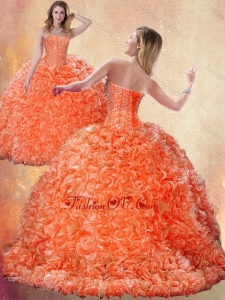 New style Brush Train Orange Quinceanera Dresses with Beading and Ruffles