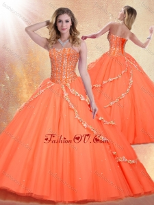 New style Sweetheart Brush Train Quinceanera Gowns with Beading