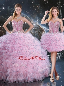 2016 Pretty Detachable Quinceanera Skirts with Beading and Ruffles