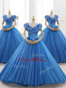 Classical Blue Off the Shoulder Long Quinceanera Dresses with Appliques