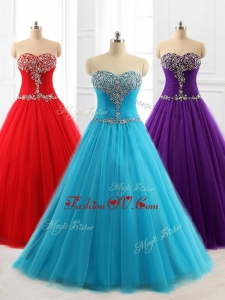 Custom Made A Line Sweetheart Quinceanera Dresses with Beading for 2016