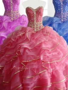 2016 Custom Made Ball Gown Quinceanera Dresses with Beading and Ruffles