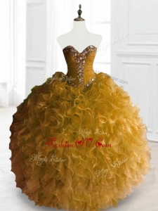 2016 Custom Made Ball Gown Sweet 16 Dresses with Beading and Ruffles