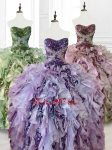 2016 Custom Made Beading Multi Color Quinceanera Dresses with Ruffles and Pattern