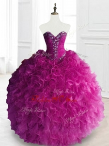 2016 Custom Made Beading and Ruffles Quinceanera Dresses in Fuchsia