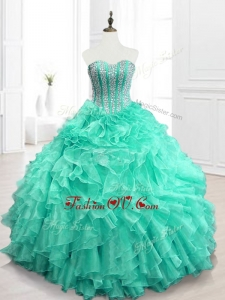 2016 Custom Made Beading and Ruffles Sweet 16 Dresses in Apple Green