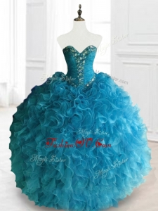 2016 Custom Made Beading and Ruffles Sweetheart Quinceanera Dresses in Blue