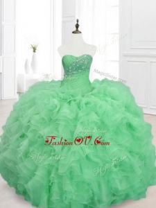 2016 Custom Made Beading and Ruffles Sweetheart Quinceanera Dresses in Green