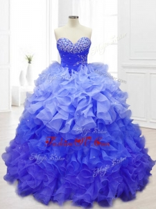 2016 Custom Made Blue Quinceanera Gowns with Beading and Ruffles