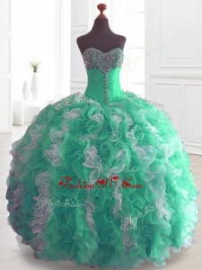 2016 Custom Made Quinceanera Dresses with Beading and Ruffles