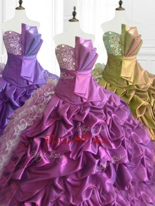 2016 Custom Made Strapless Pick Ups Quinceanera Dresses with Sequins and Ruffles