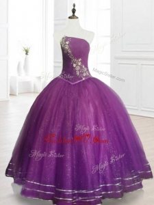 2016 Custom Made Strapless Purple Floor Length Quinceanera Gowns with Beading