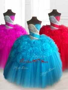 2016 Custom Made Sweetheart Quinceanera Dresses with Beading and Hand Made Flowers
