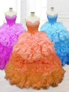 2016 Custom Made Sweetheart Quinceanera Gowns with Beading and Ruffles