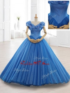 2016 Exclusive Appliques Off the Shoulder Sweet 16 Dresses in Blue