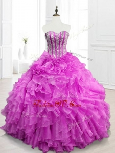 Custom Made Beading and Ruffles Fuchsia Quinceanera Gowns for 2016
