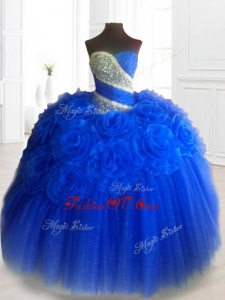 Custom Made Hand Made Flowers Sweet 16 Dresses in Royal Blue