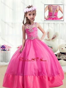 New Style Ball Gown Beading Little Girl Pageant Dresses in Hot Pink