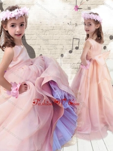 New Style Ball Gown Peach Little Girl Pageant Dresses with Bowknot