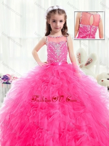 New Style Bateau Hot Pink Little Girl Pageant Dresses with Beading