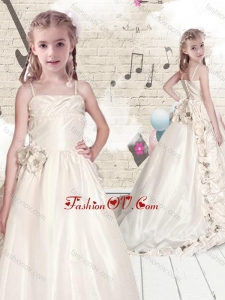 New Style Empire Spaghetti Straps Brush Train Little Girl Pageant Dresses