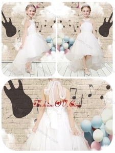 New Style High Low Halter Top White Little Girl Pageant Dresses